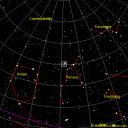 Sky chart of how to find Holmes 17P